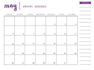 Online Monthly May 2019 Calendar With Notes