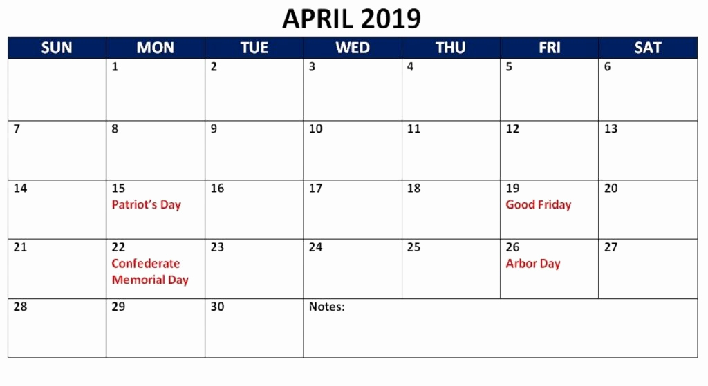 Printable April 2019 Holidays Calendar