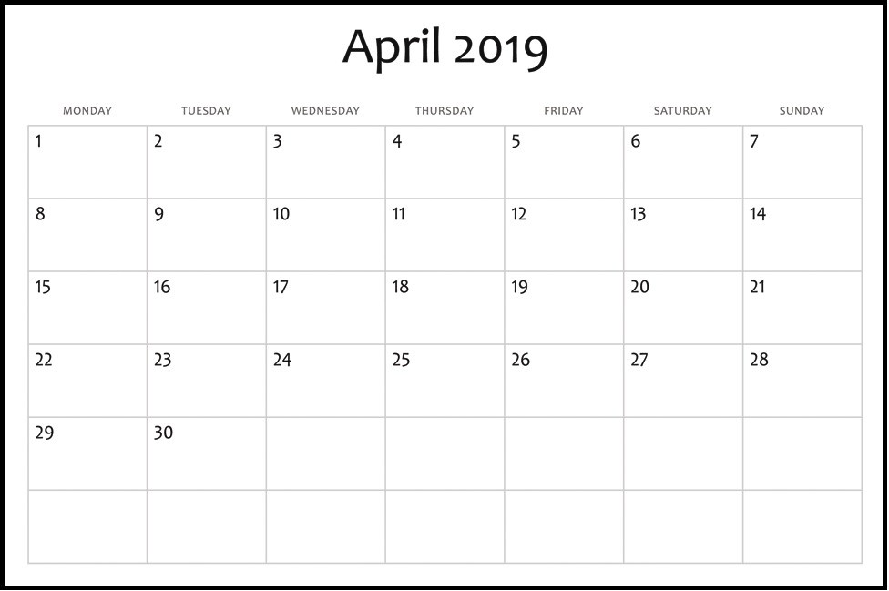 Printable Calendar Template April 2019 Free August 2019