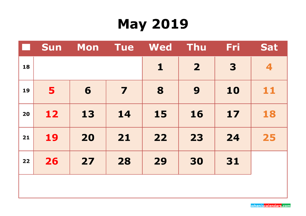 Printable Calendar Template for May 2019