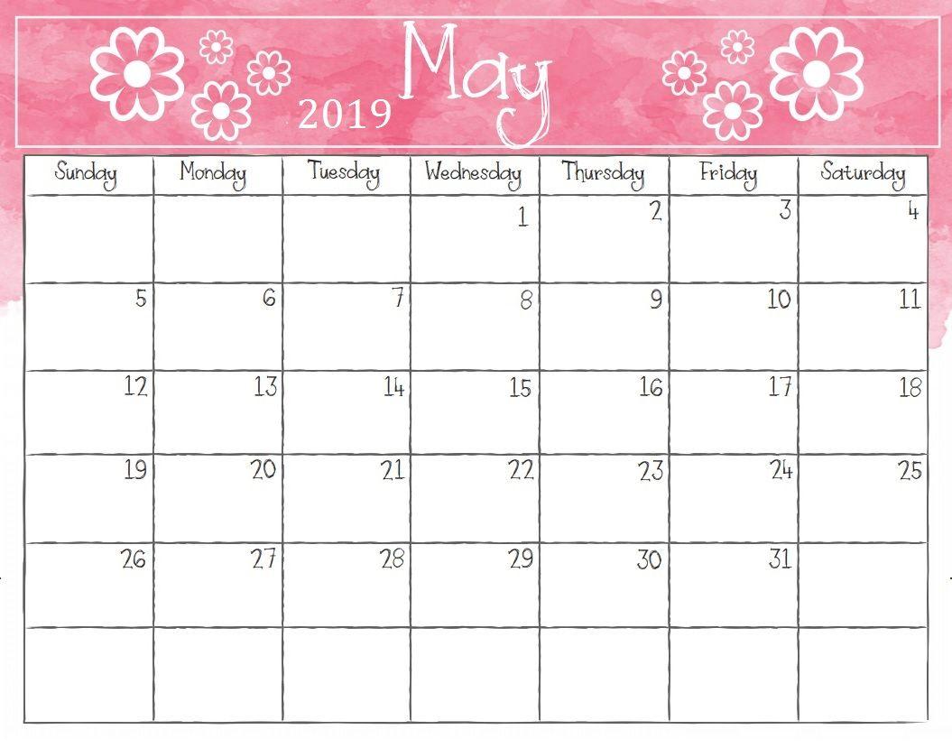 Watercolor May 2019 Calendar