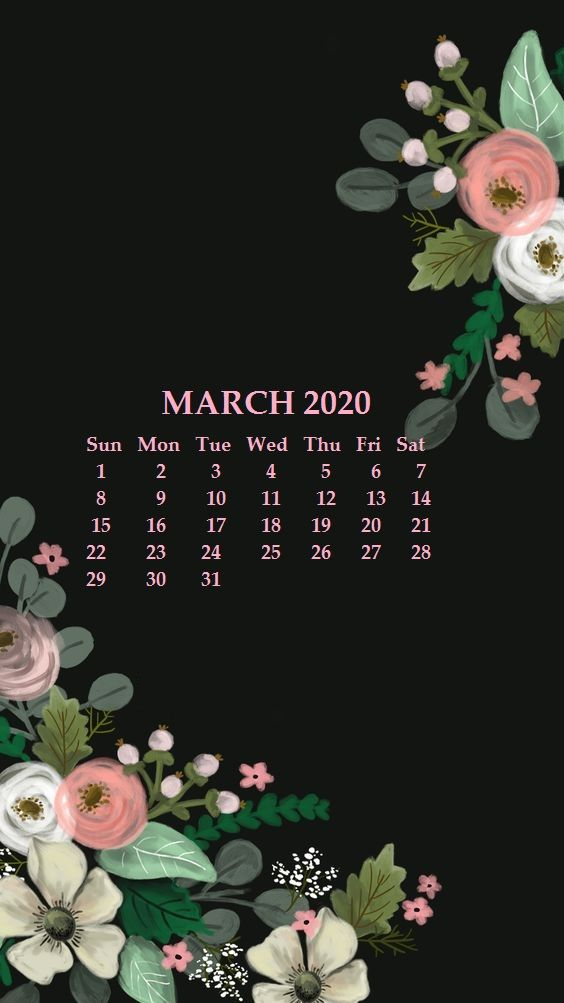 iPhone March 2020 Calendar