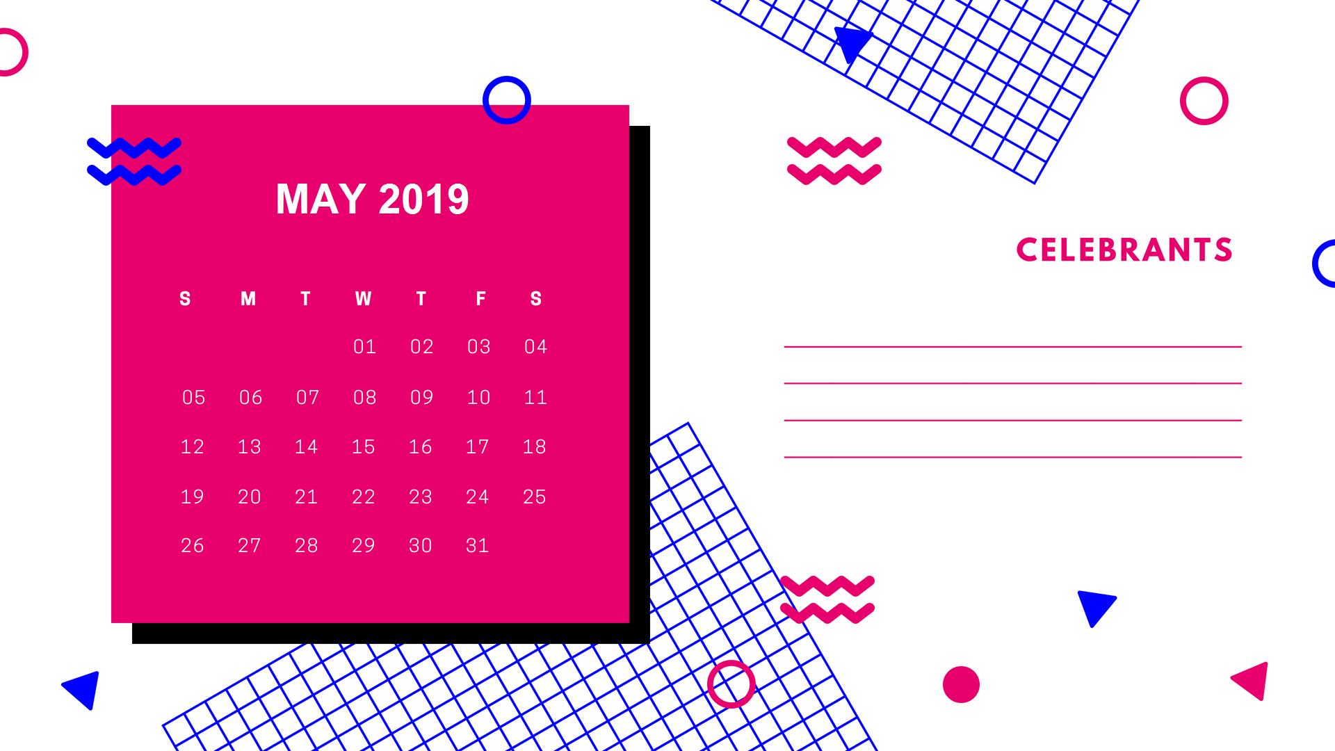 2019 May Calendar Cute