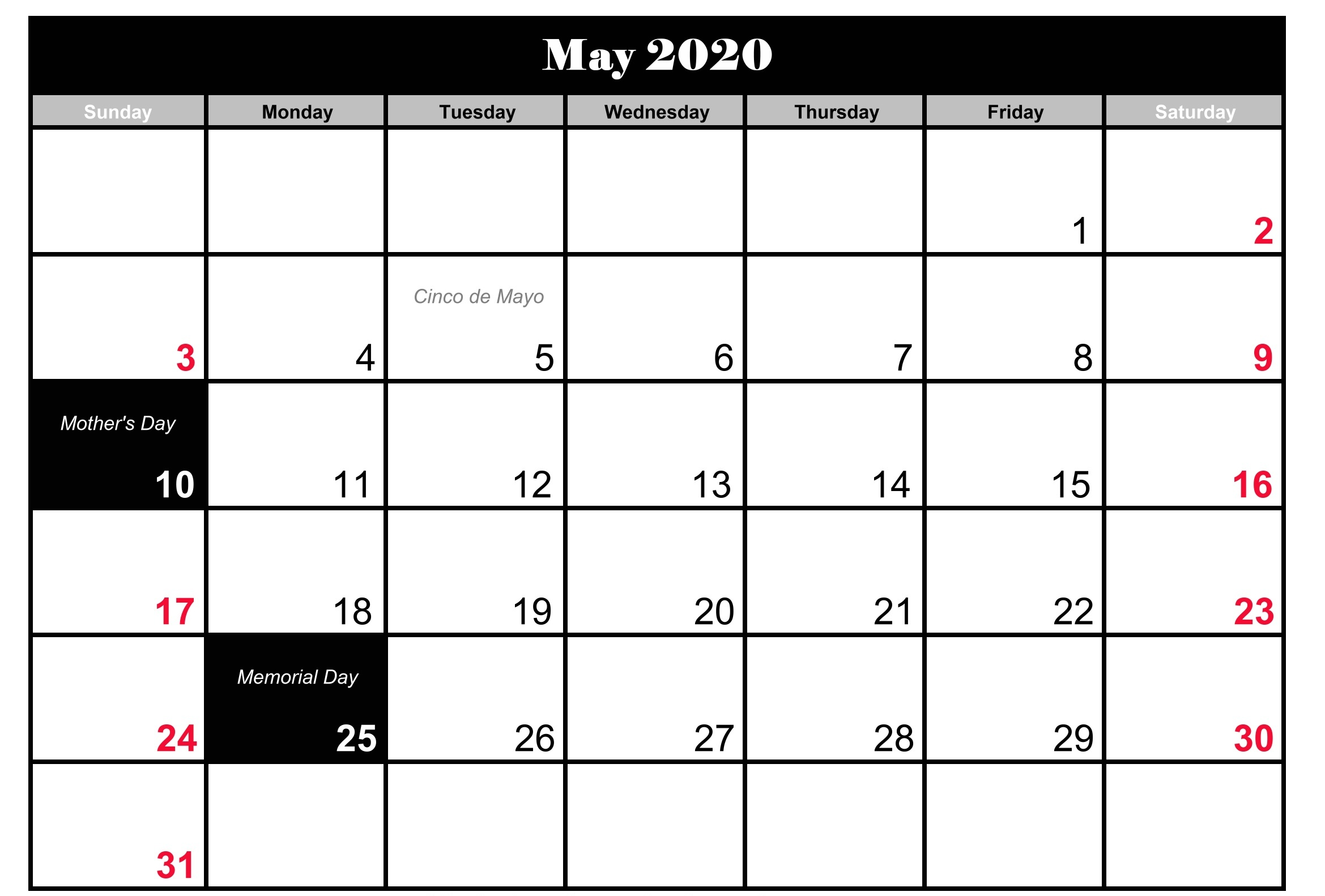 2020 May Calendar with Holidays