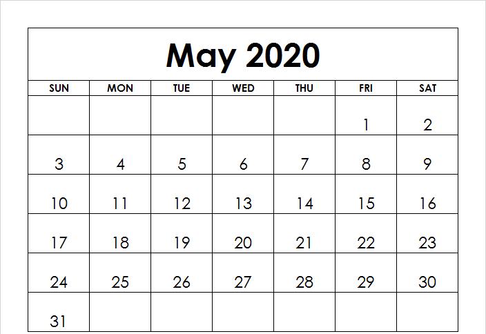 2020 May Printable Calendar
