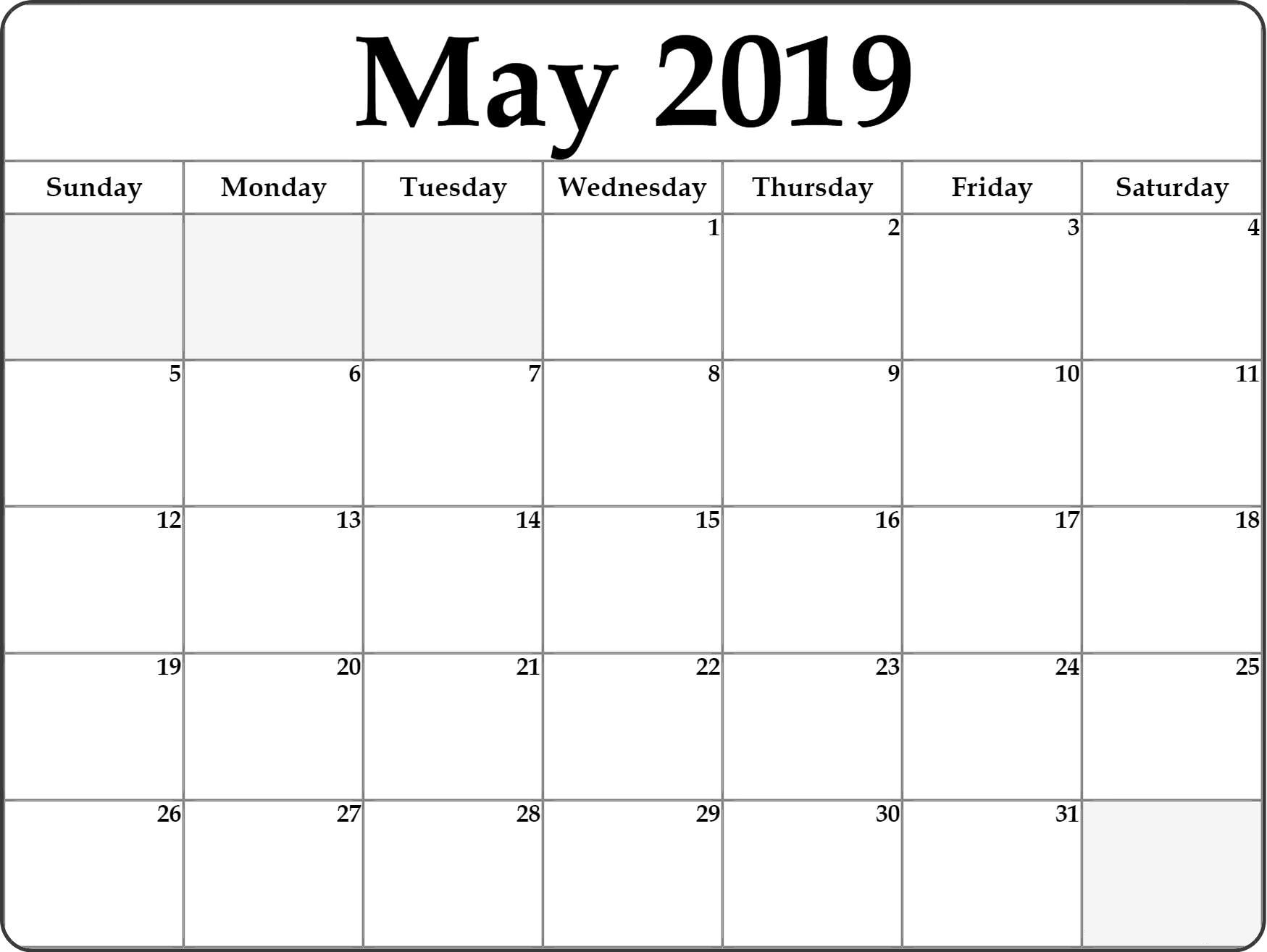 Blank Calendar Template for May 2019