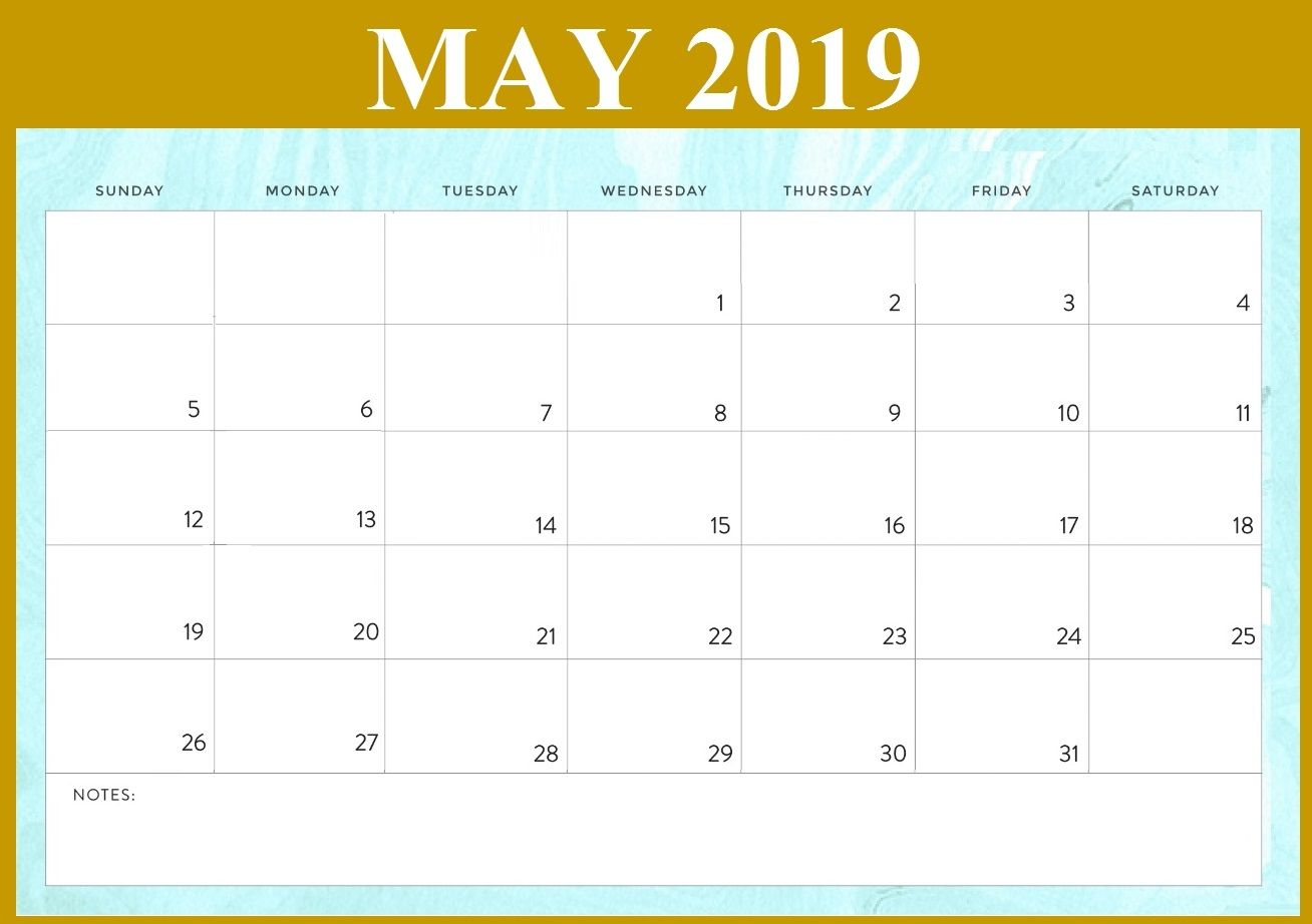 Blank Monthly Calendar May 2019