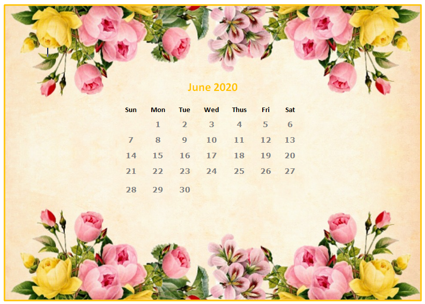 Cute June 2020 Editable Calendar Template