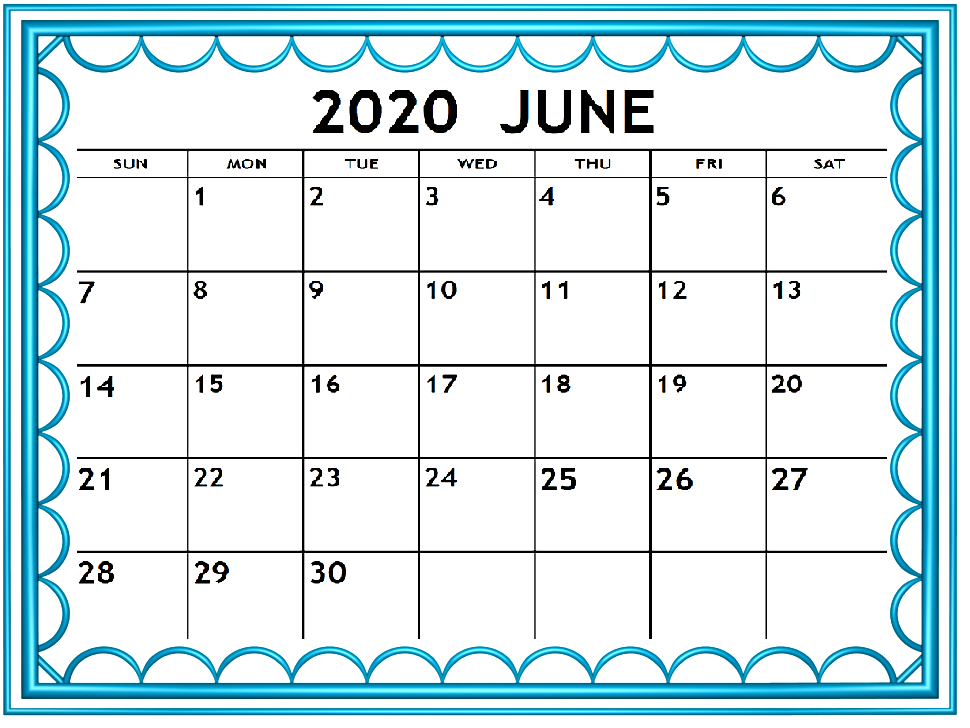 Cute June 2020 Editable Calendar