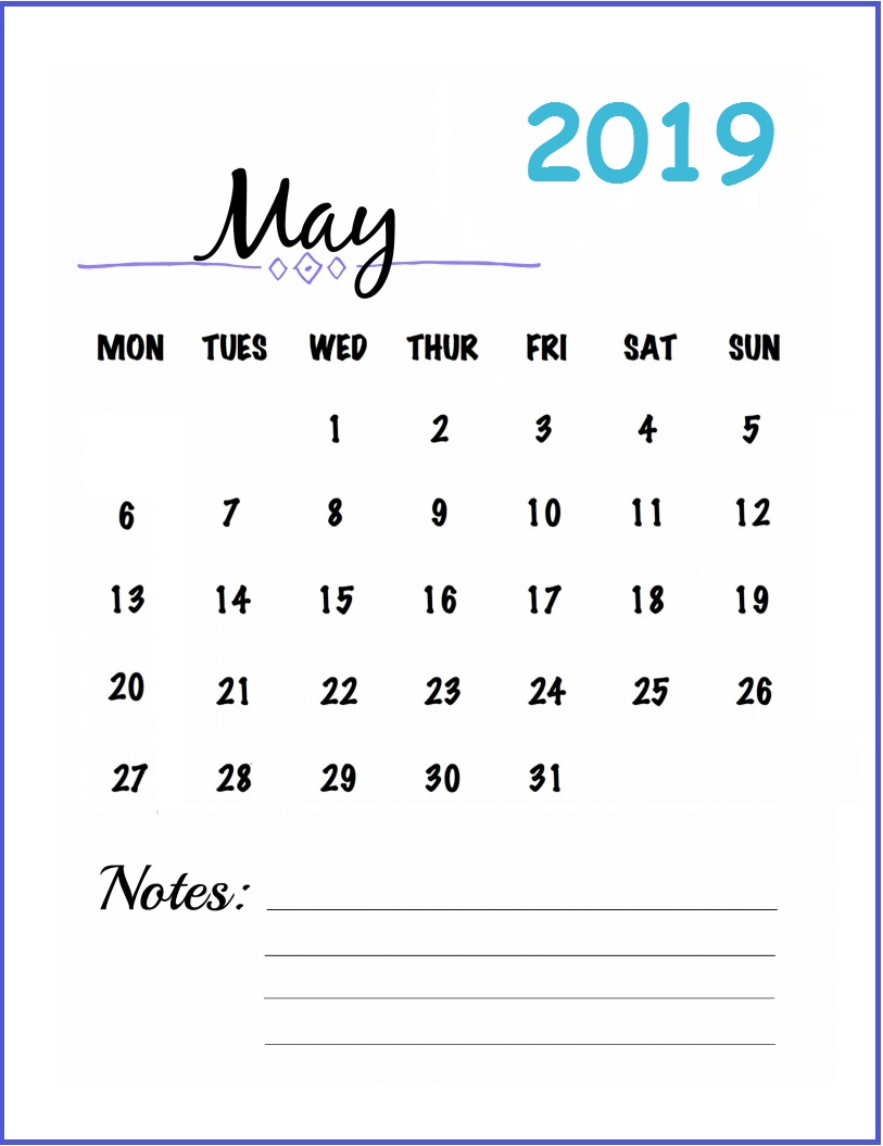 Cute May 2019 Calendar Printable for Wall