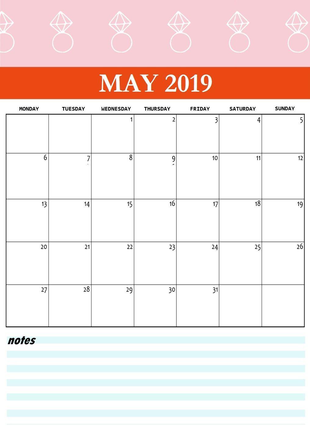 Cute May 2019 Calendar Template