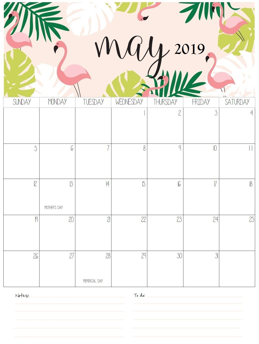 Cute May 2019 Calendar With Editable Notes Free August