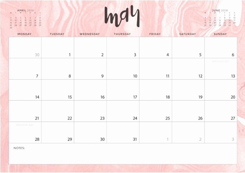 Cute May 2019 Desk Calendar Template