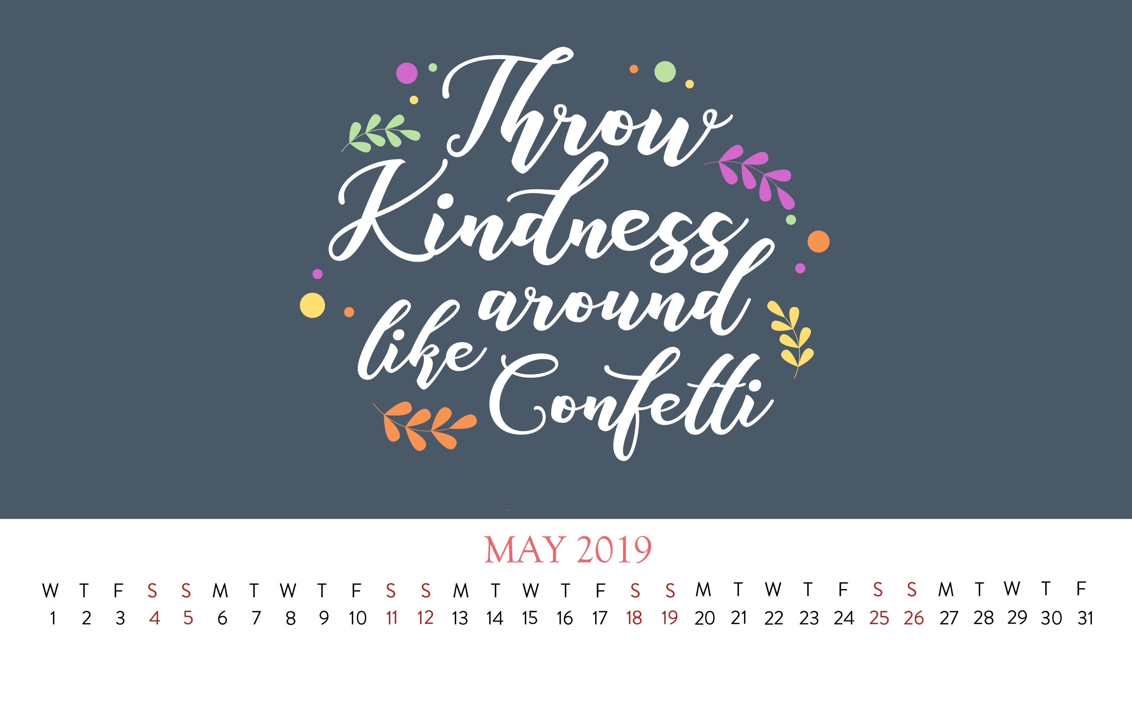 Cute May 2019 Famous Quotes Calendar