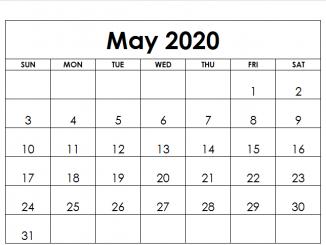 Fillable May 2020 Calendar Templates