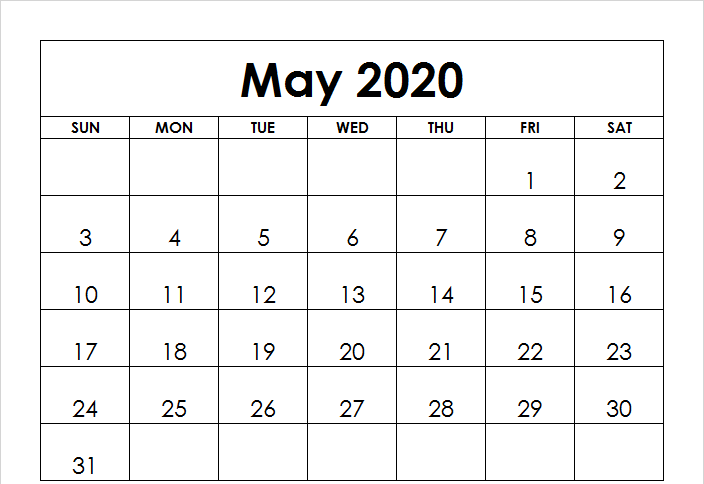Fillable May 2020 Calendar Templates
