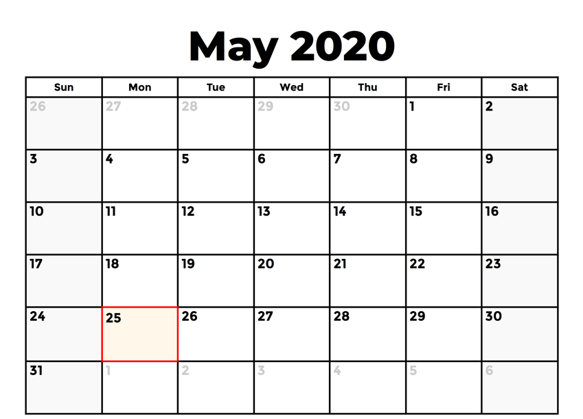 Fillable May 2020 Calendar with Holidays