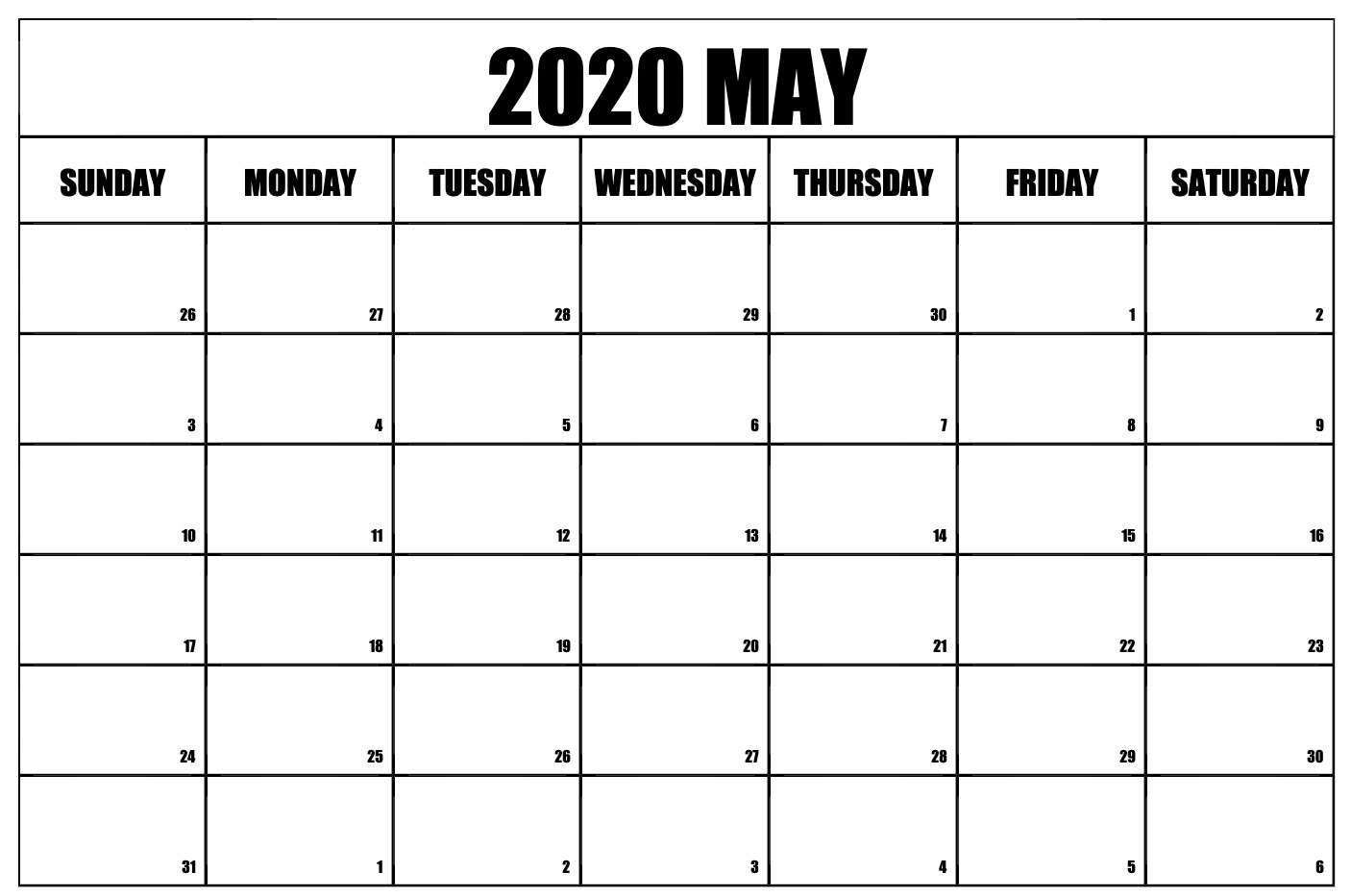 Fillable May 2020 Calendar