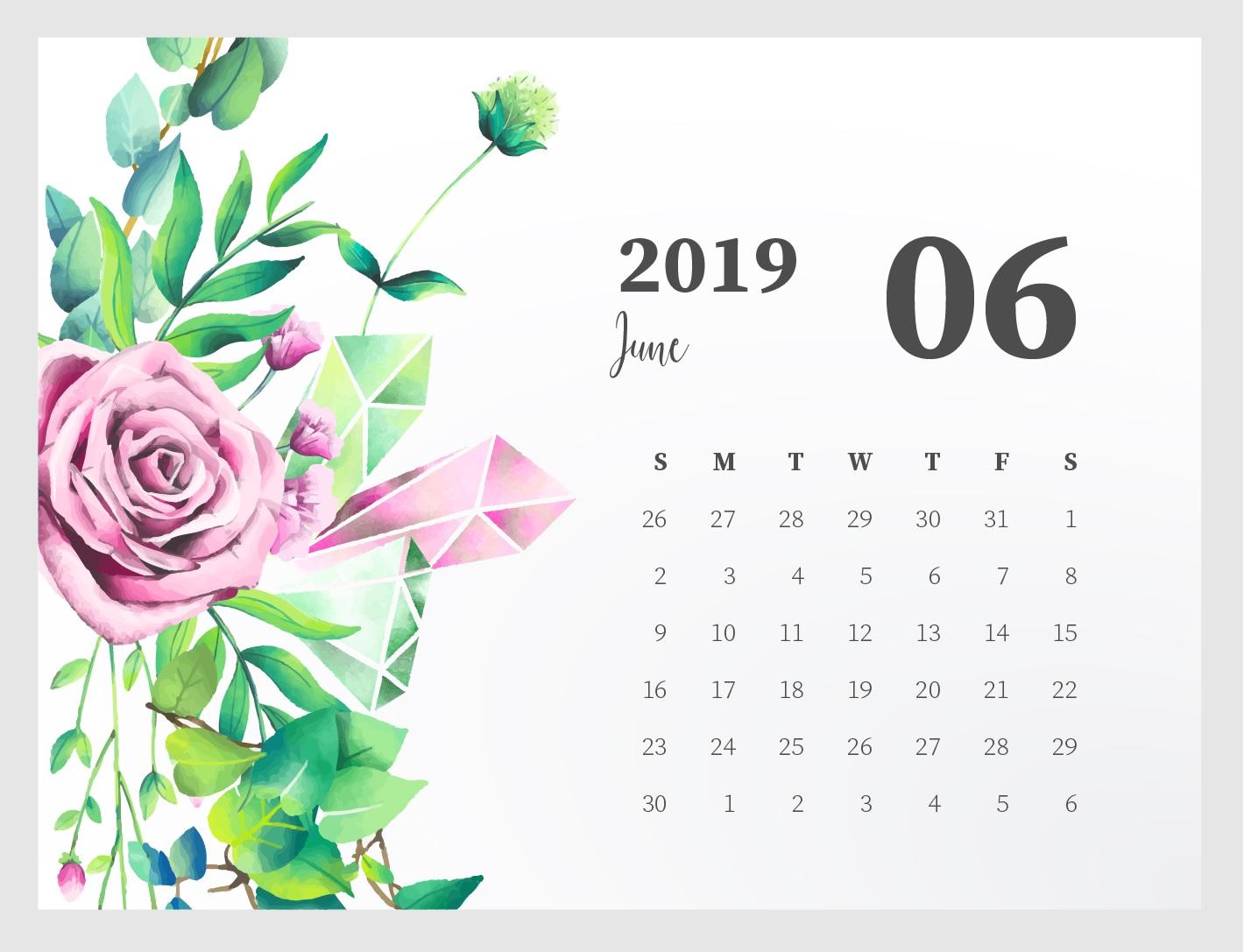 Floral June 2019 Calendar Cute