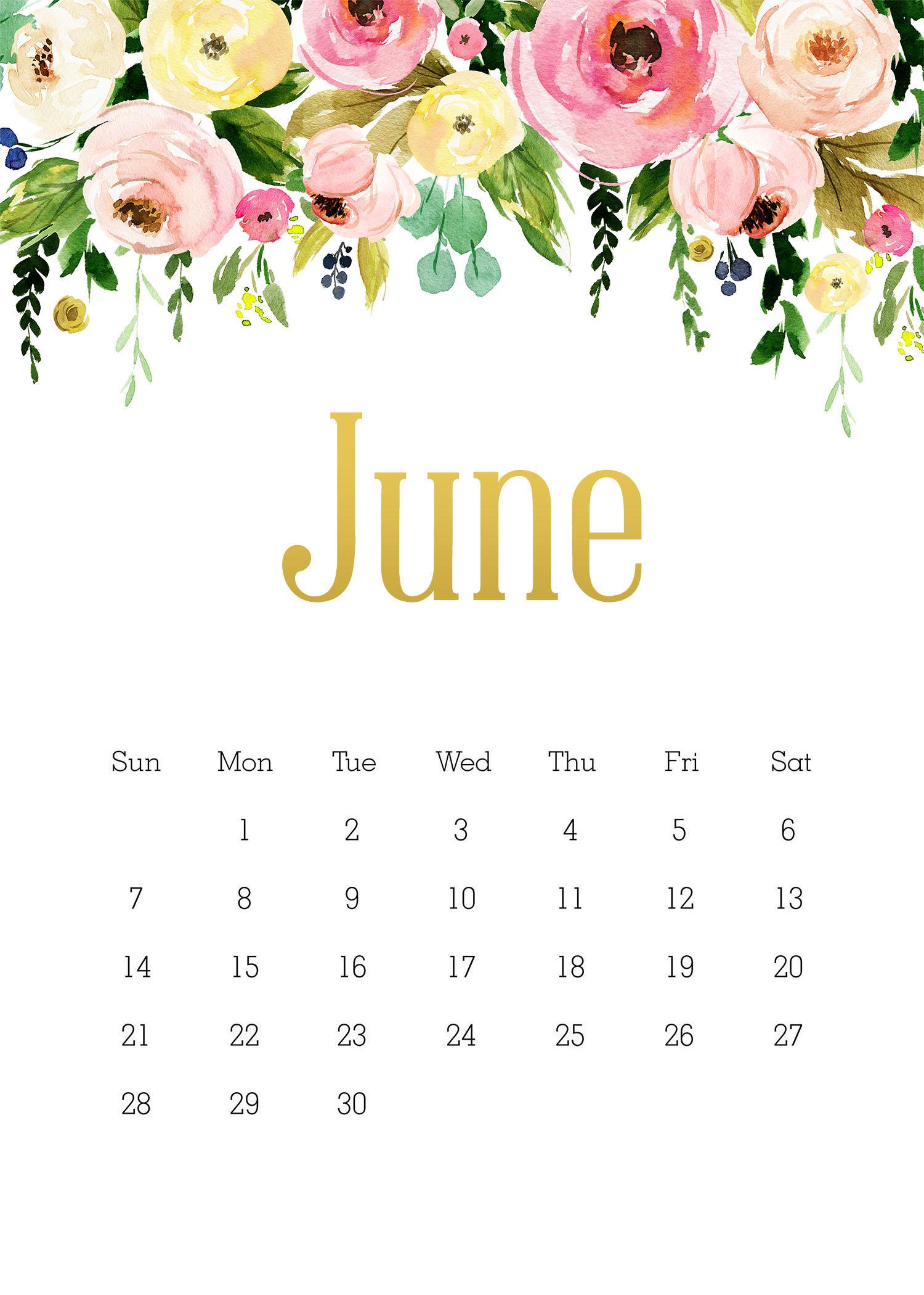 Floral June 2020 Wall Calendar