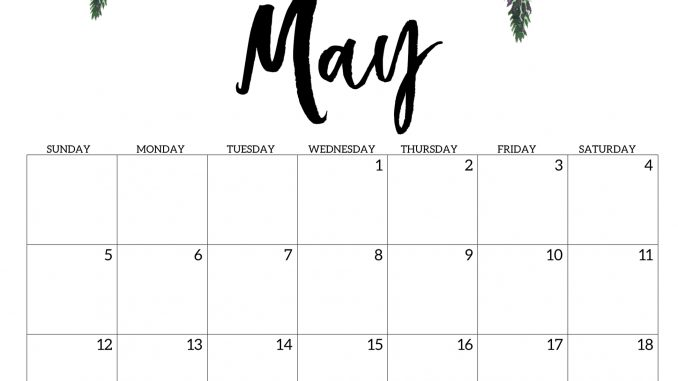 photograph relating to Printable May Calendars identified as Lovable May well 2019 Calendar Printable Floral Style and design Wallpaper