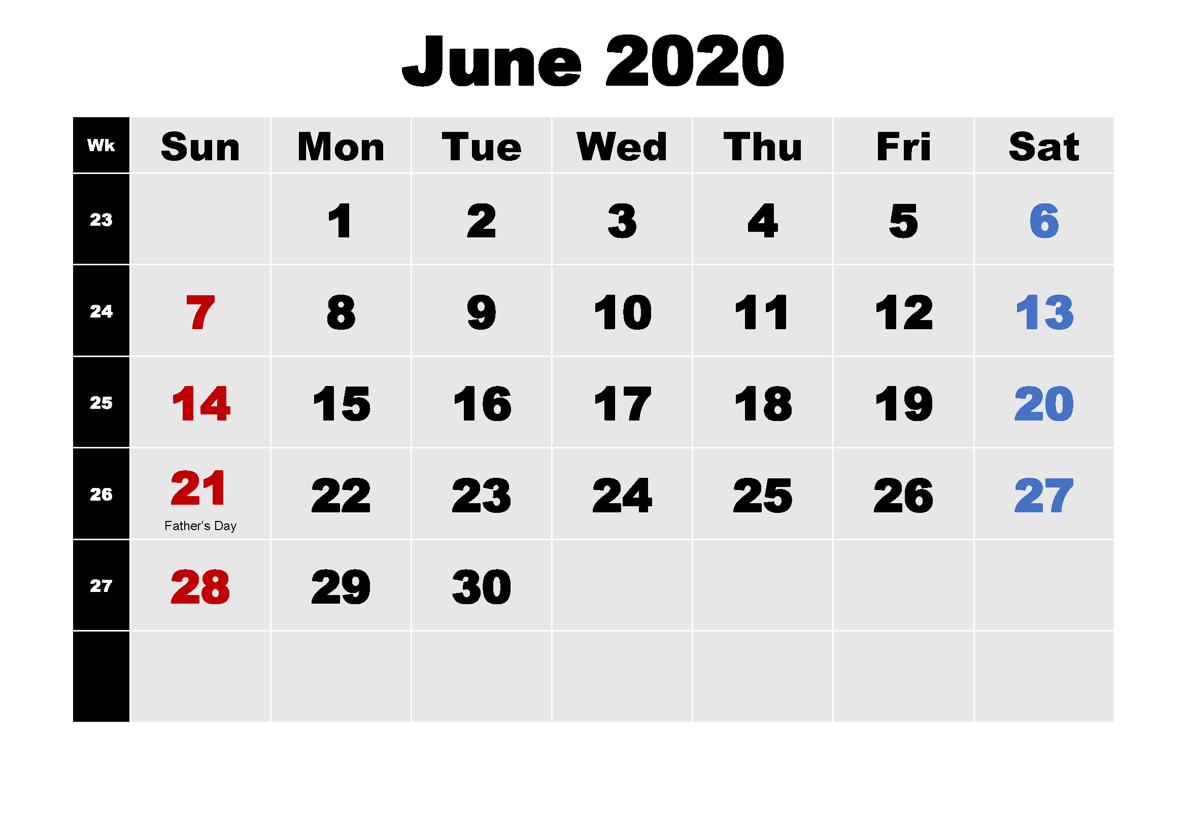Free Printable June 2020 US Calendar Templates
