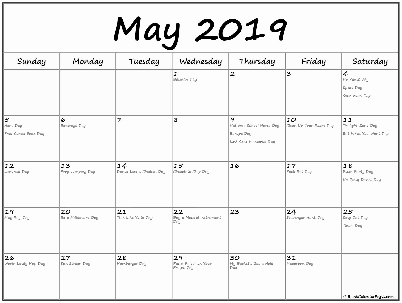 Printable Calendar May 2019 With Holidays Free August 2019