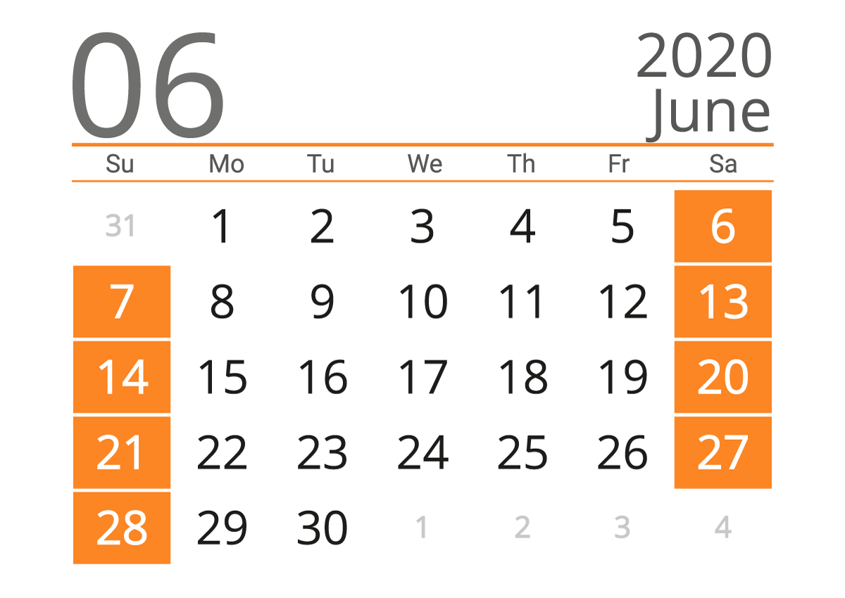 July 2020 US Calendar With Holiday