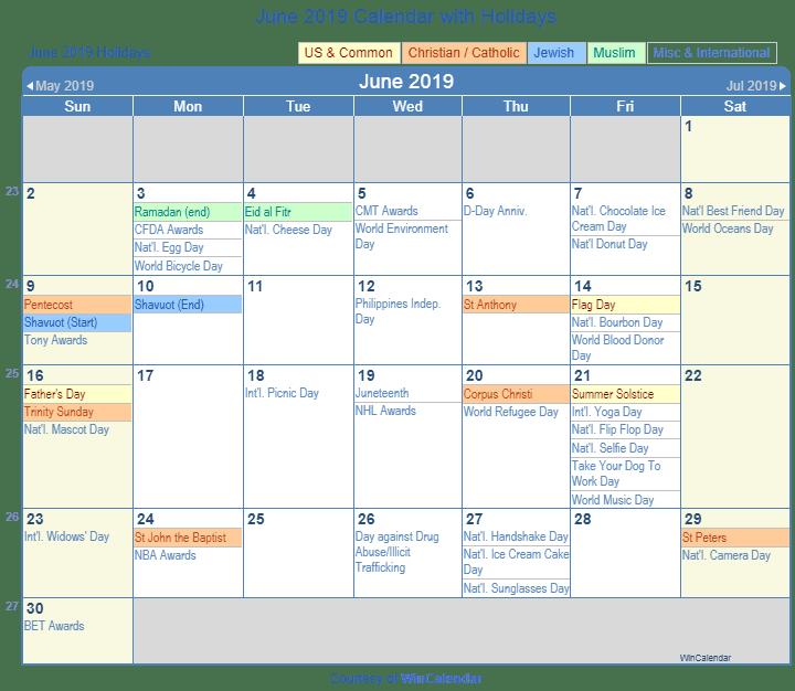 June 2019 Calendar USA with Holidays