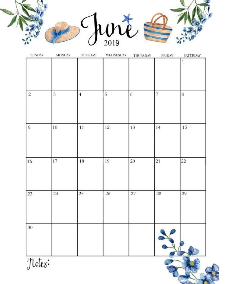 June 2019 Cute Calendar