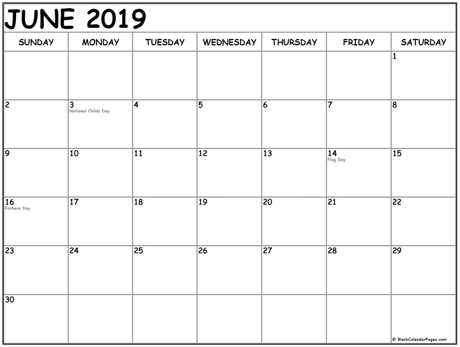 June 2019 Calendar with USA Holidays
