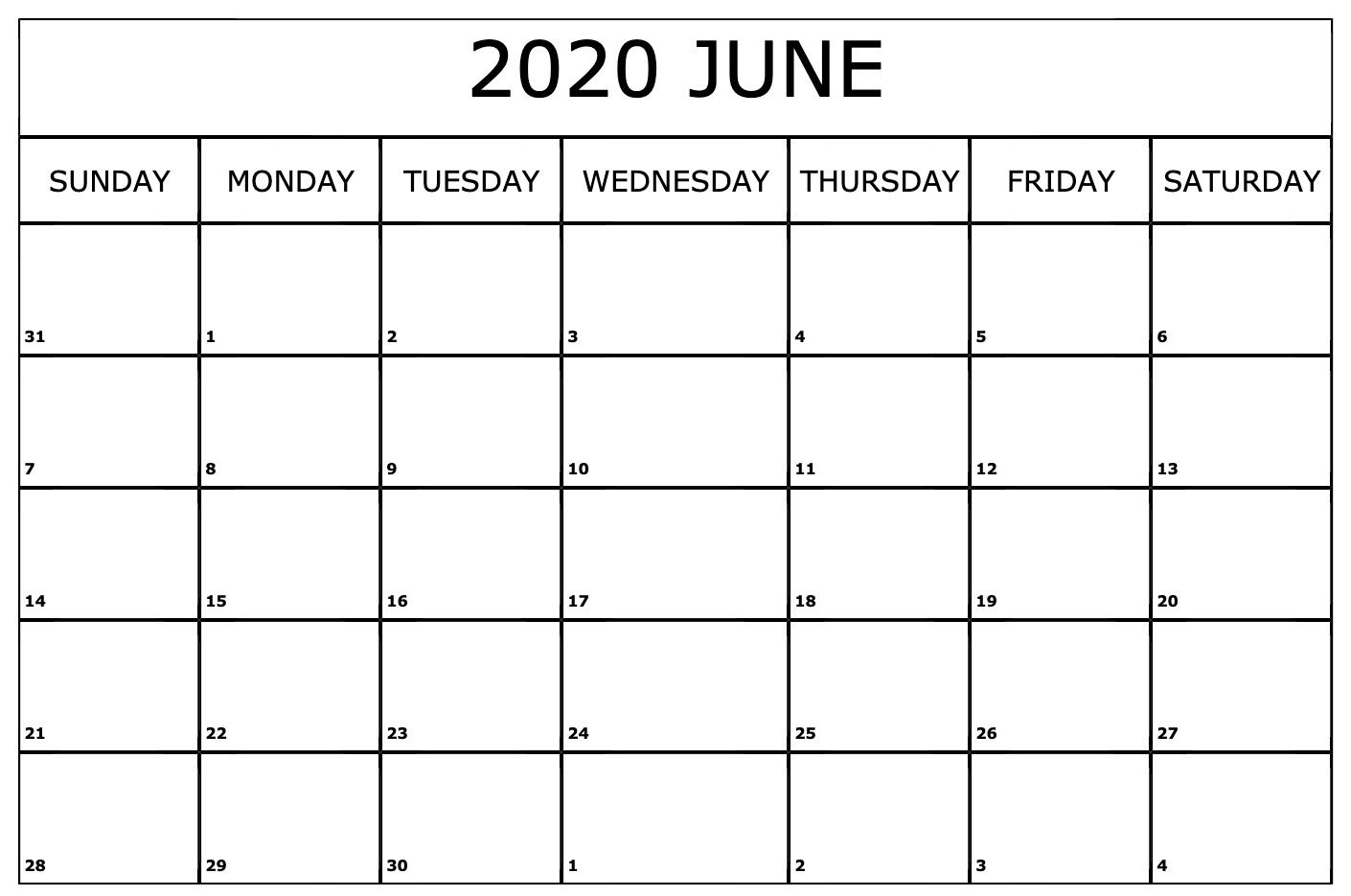 June 2020 US Calendar Holidays