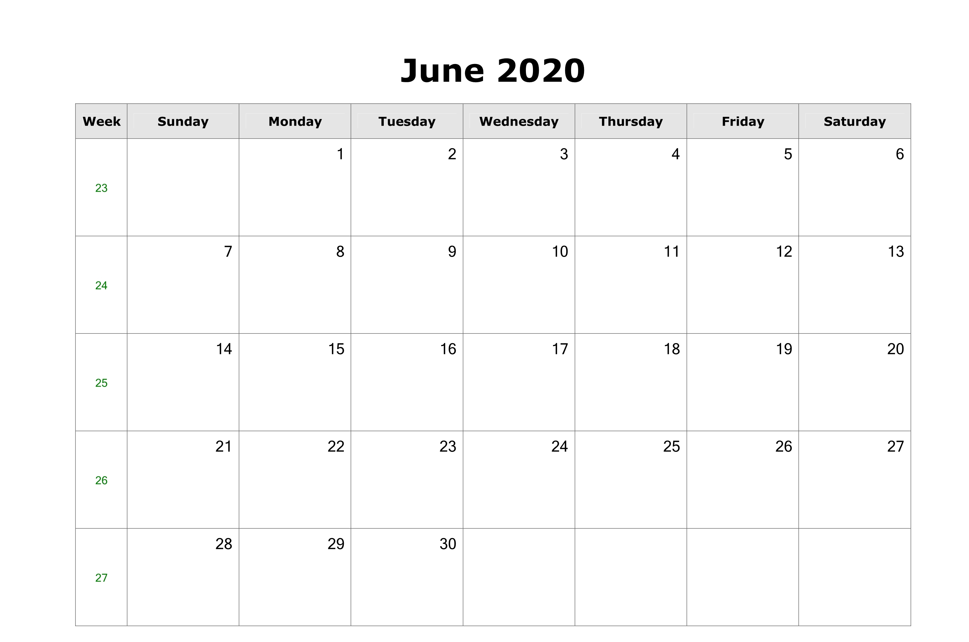 June 2020 US Calendar Printable