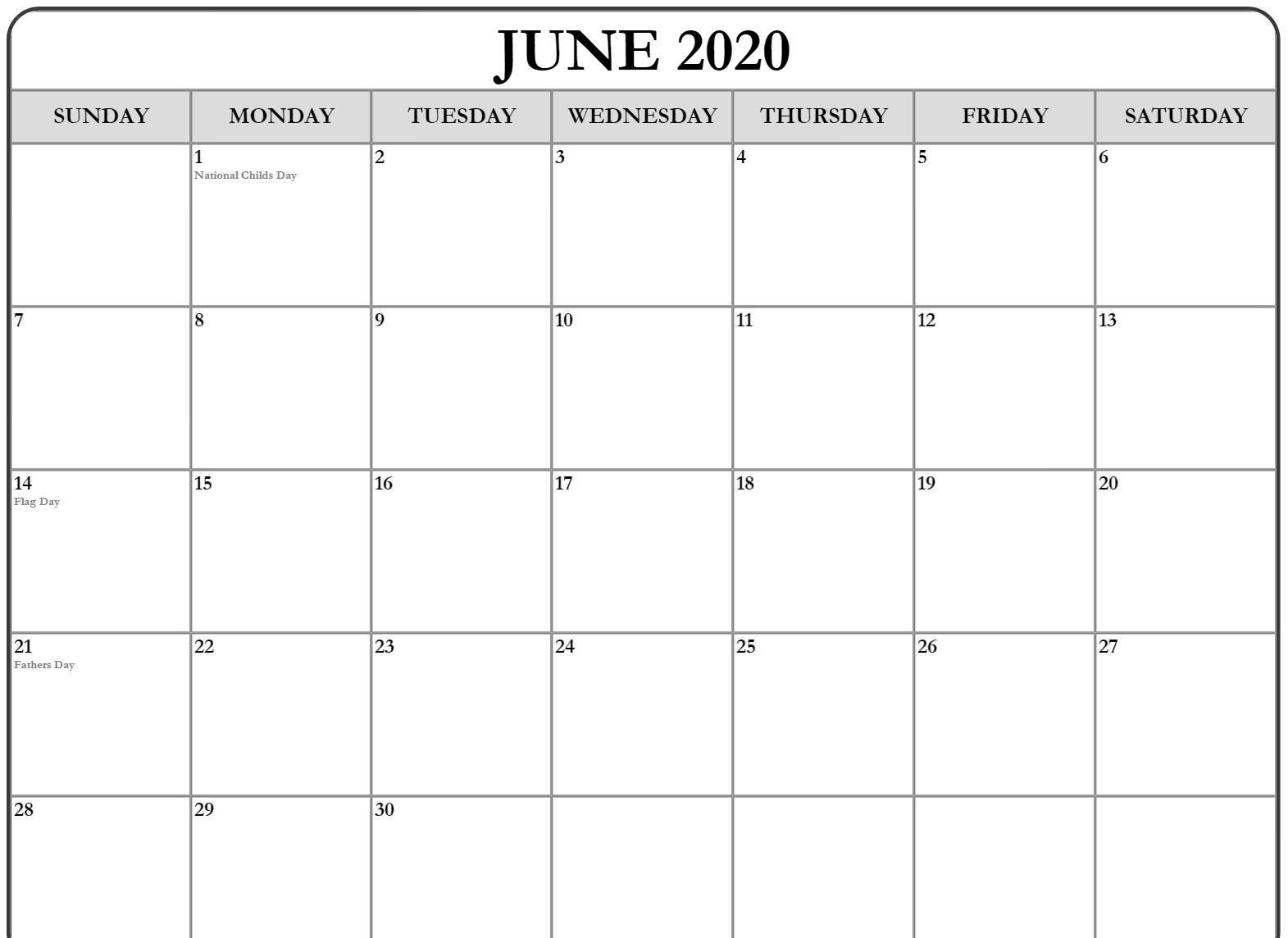 June Calendar 2020 USA Template