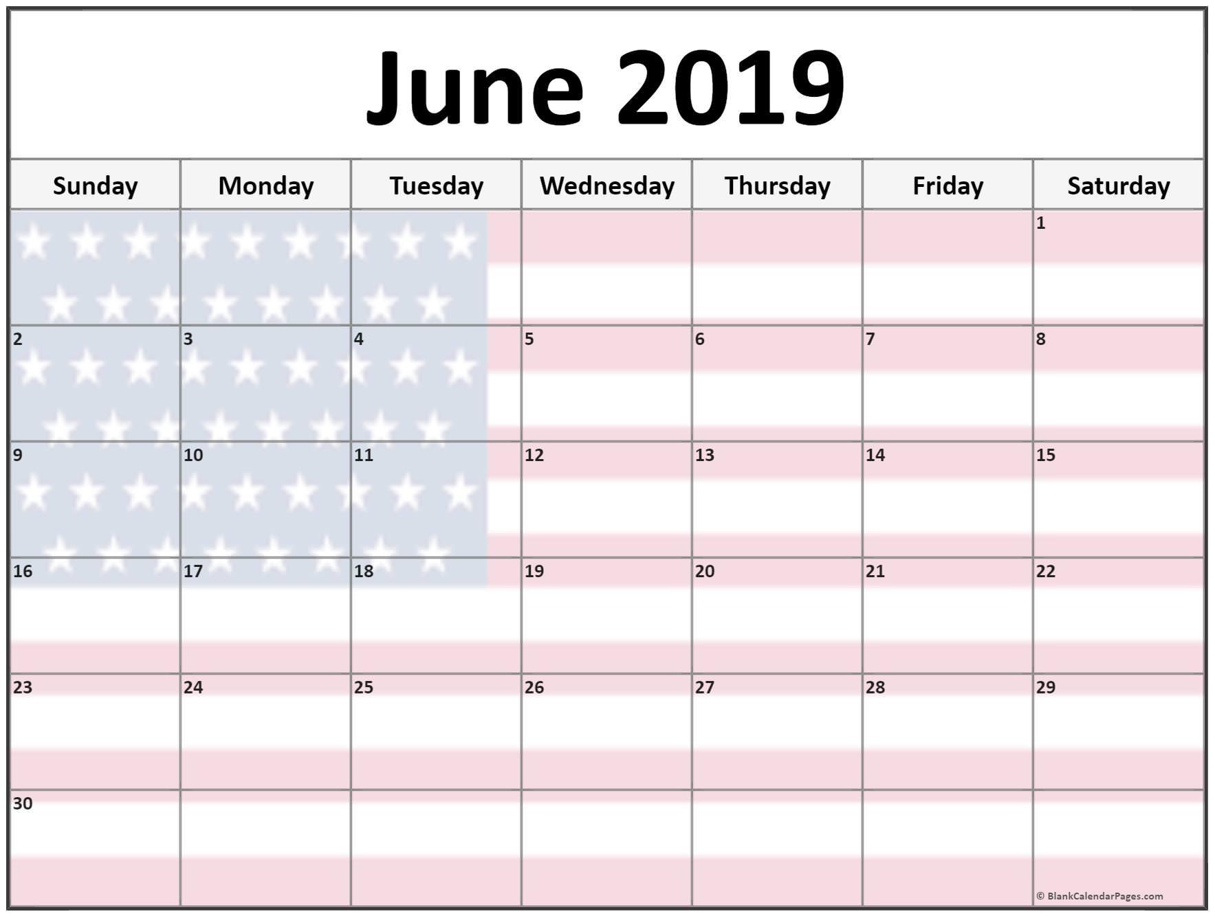 June 2019 US Calendar