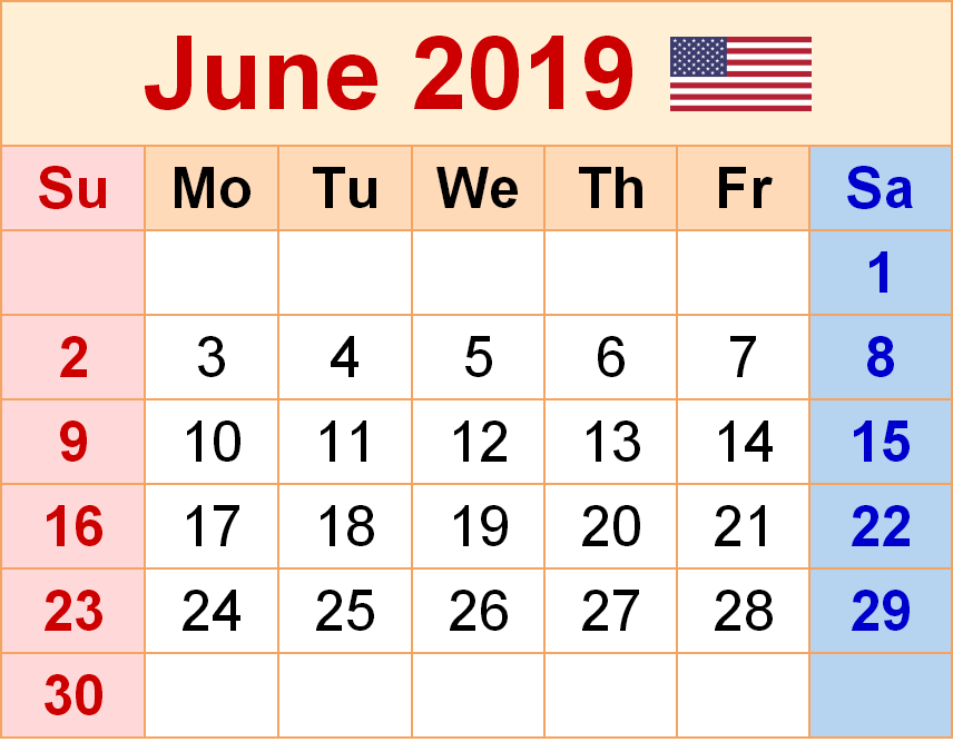 June USA 2019 Holiday Calendar Printable