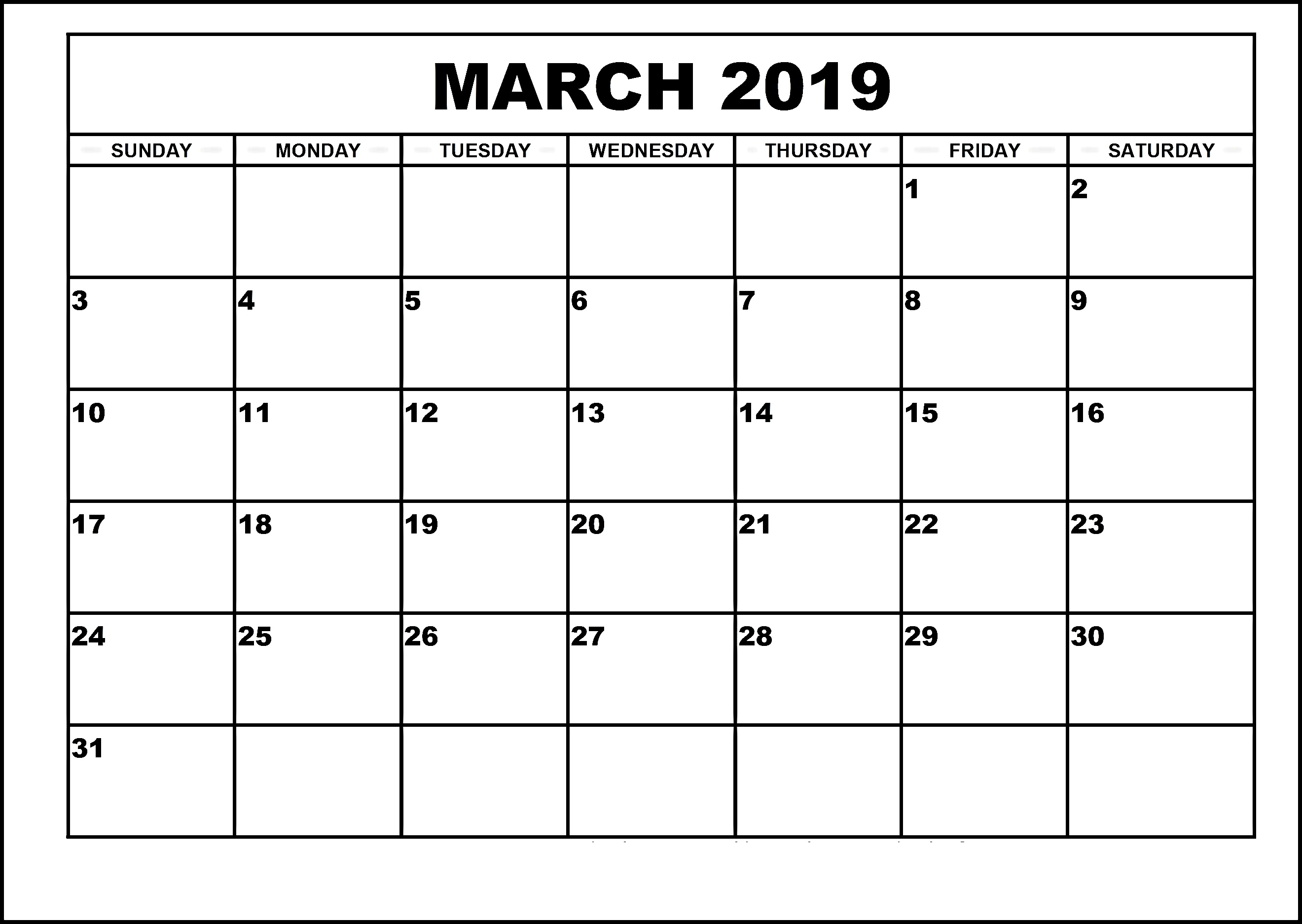 Printable 2019 Calendars Monthly March 2019 Calendar