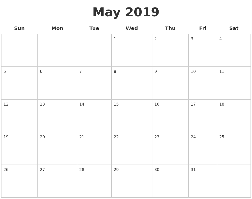 May 2019 Blank Calendar PDF