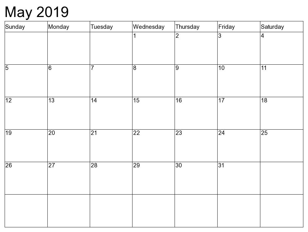 May 2019 Blank Calendar Word