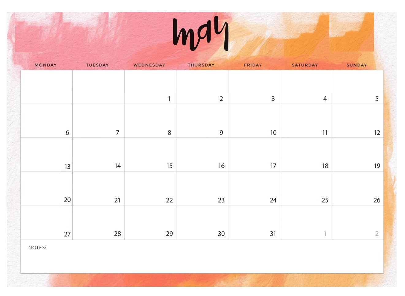 May 2019 Blank Template Planner