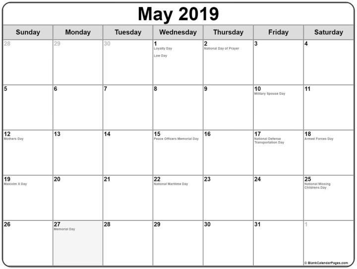 May 2019 Calendar Canada with Holidays