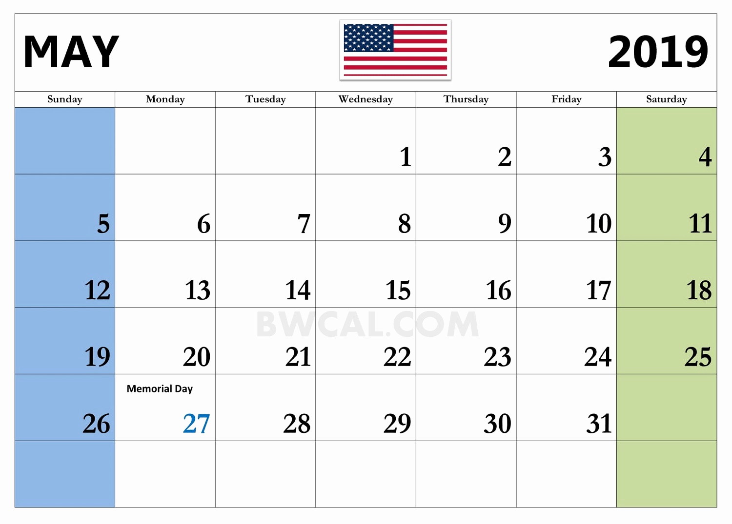 may 2019 calendar with holidays template