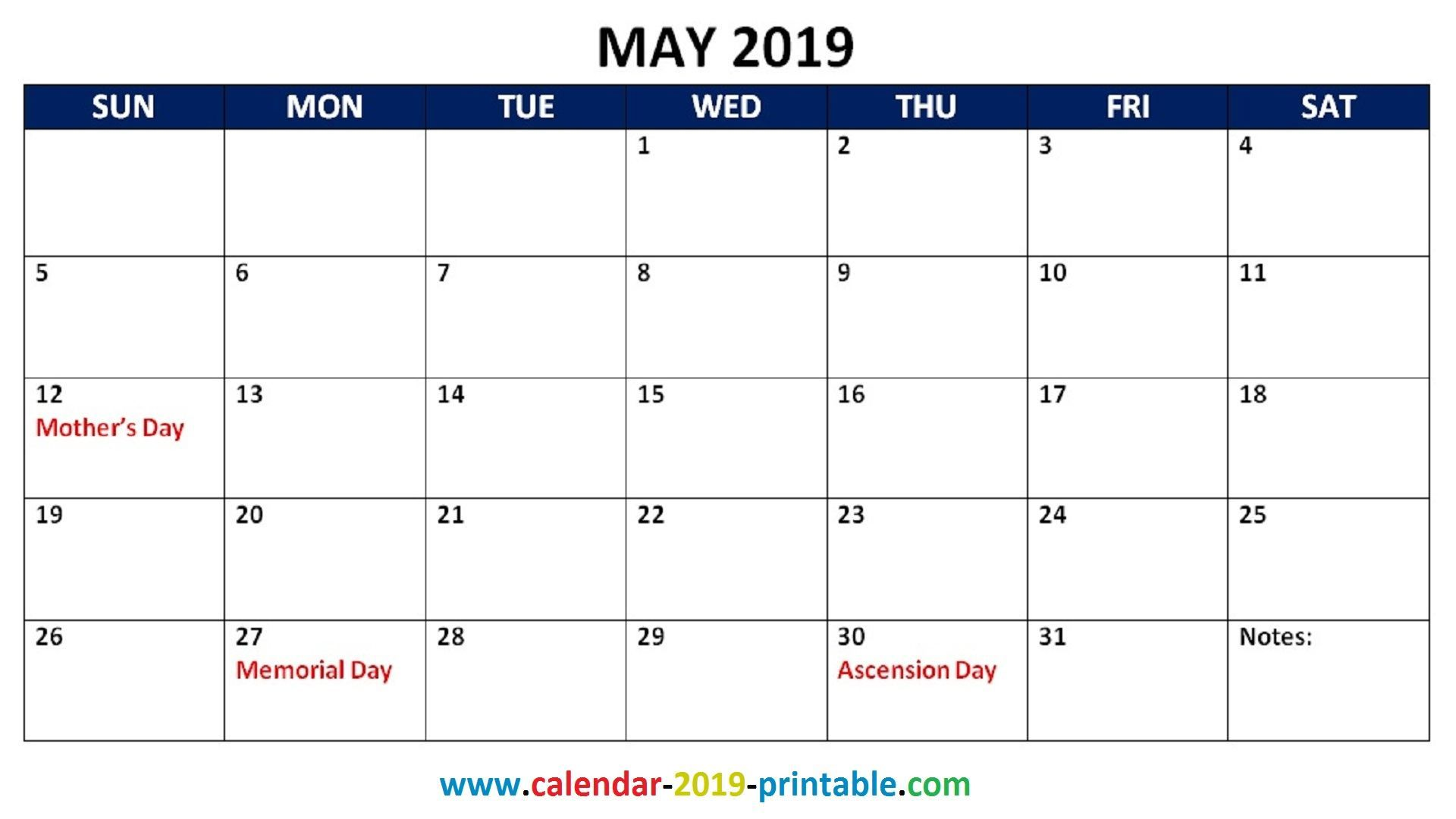 May 2019 Calendar Memorial Day Get May 2019 Calendar with Holidays Printable Template