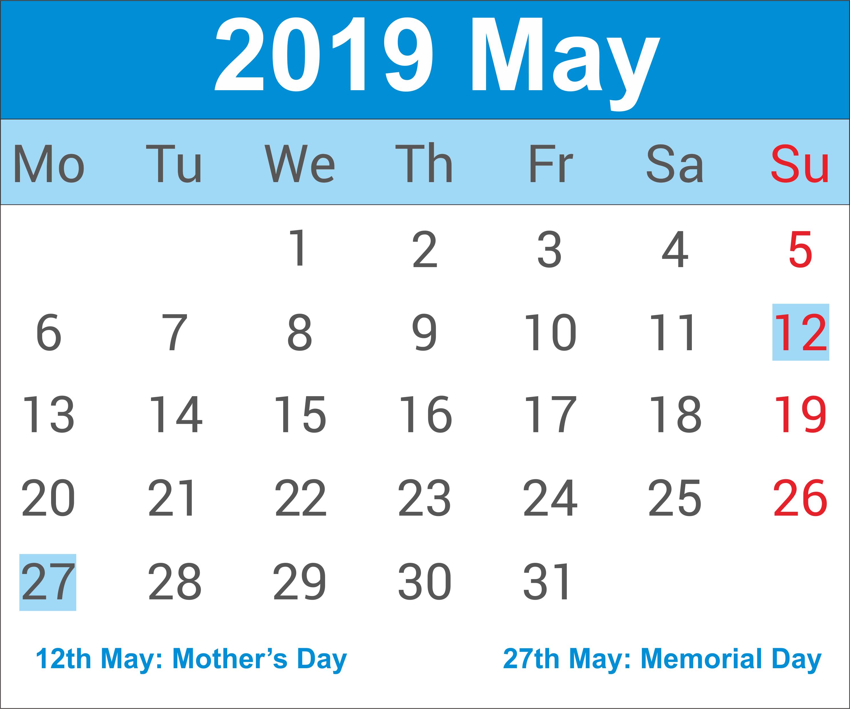 May 2019 India Holidays Calendar