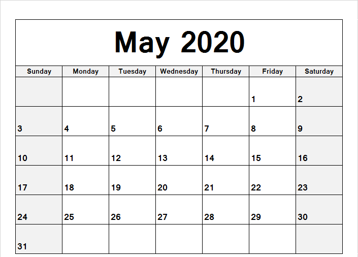 May 2020 Calendar Landscape