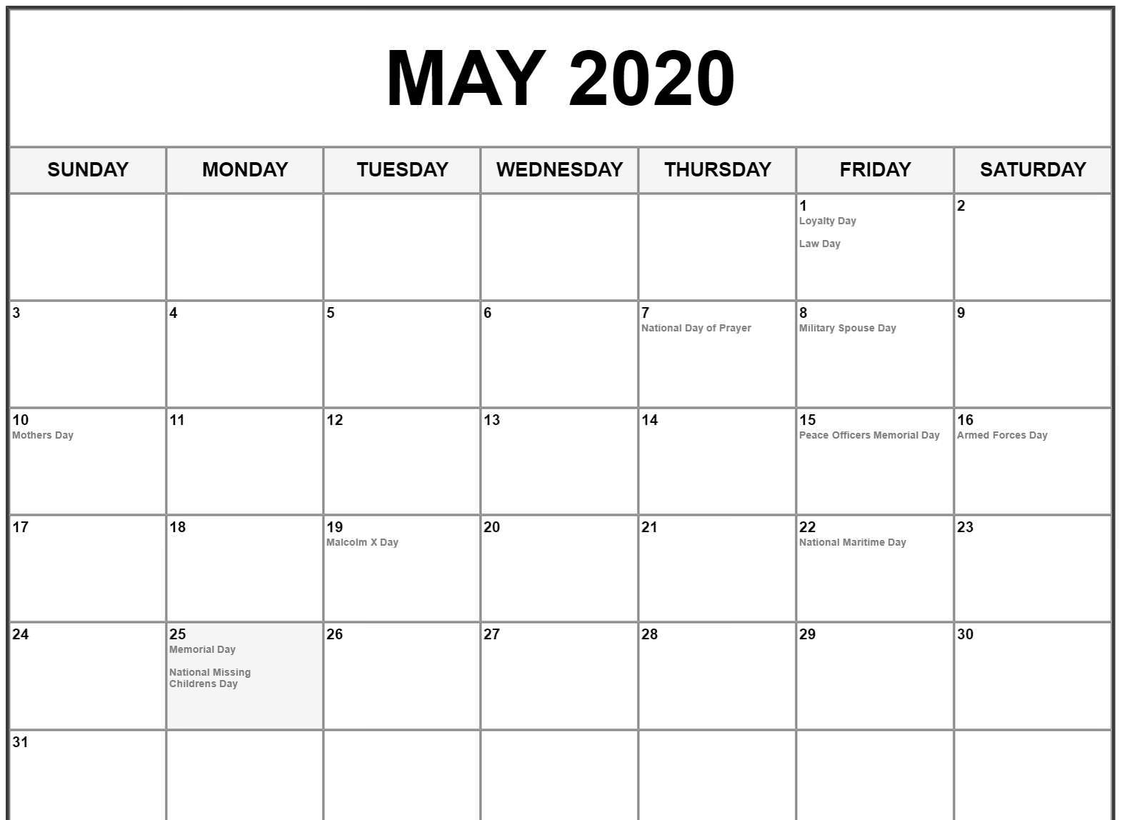 May 2020 Calendar US Holidays