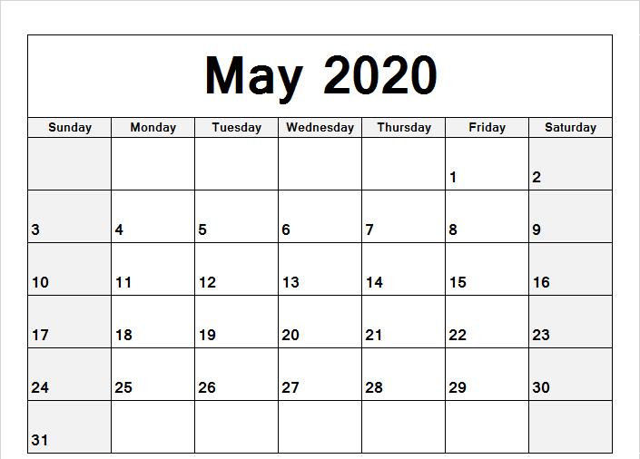 May Calendar 2020 Word