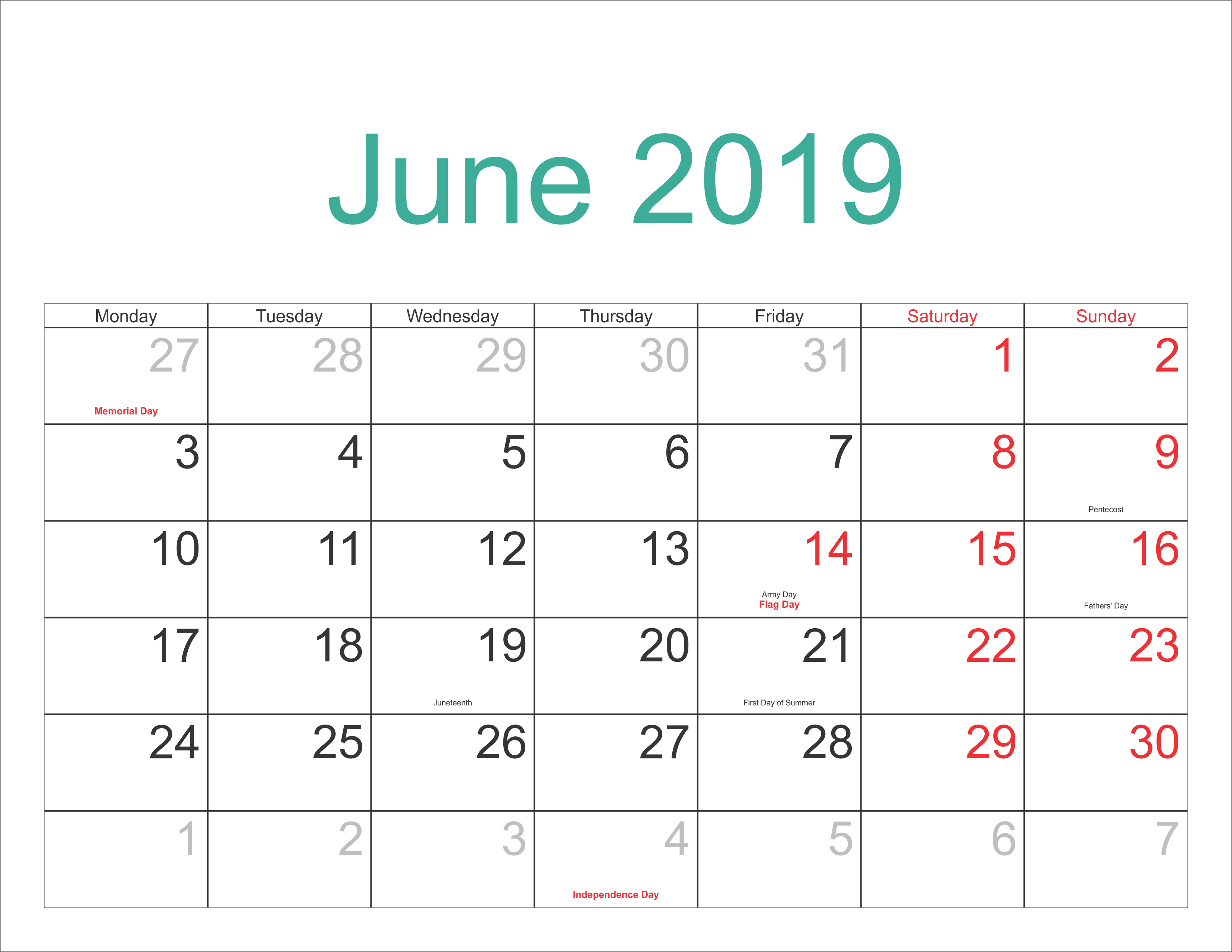 Print 2019 Calendar June With Holidays