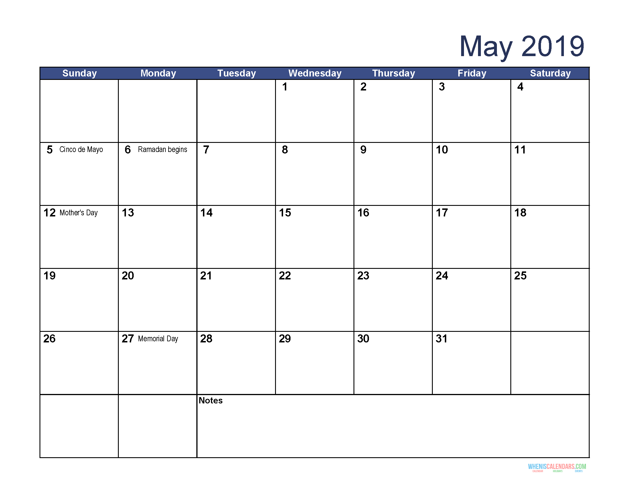 Get May 2019 Calendar with Holidays Printable Template
