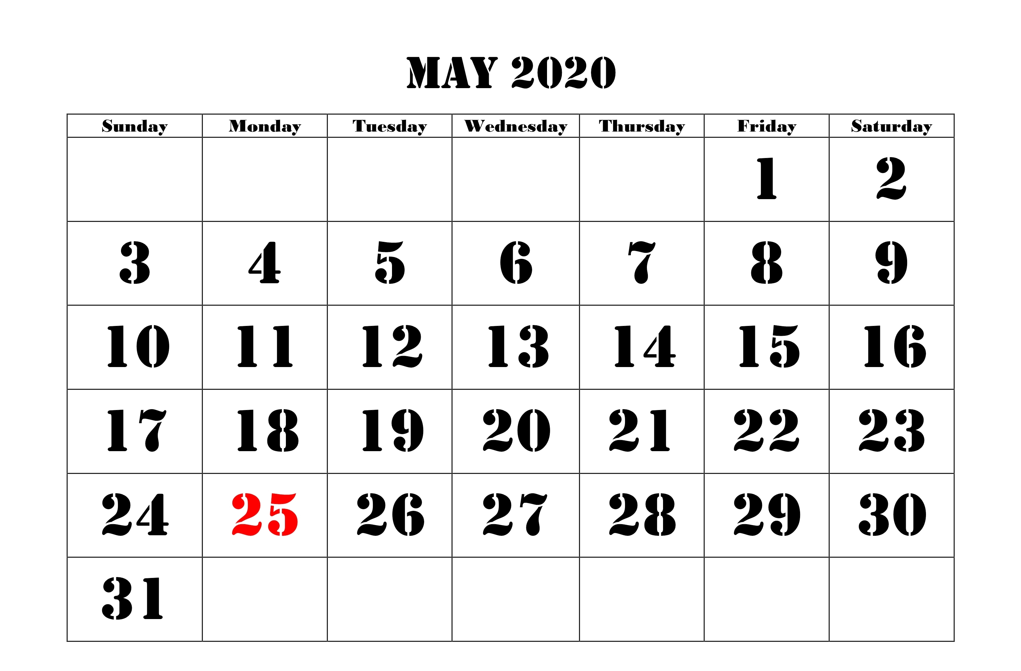 Printable May 2020 Calendar Cute Floral